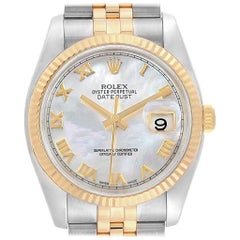 Rolex Datejust Steel Yellow Gold Mother of Pearl Dial Men's Watch 116233