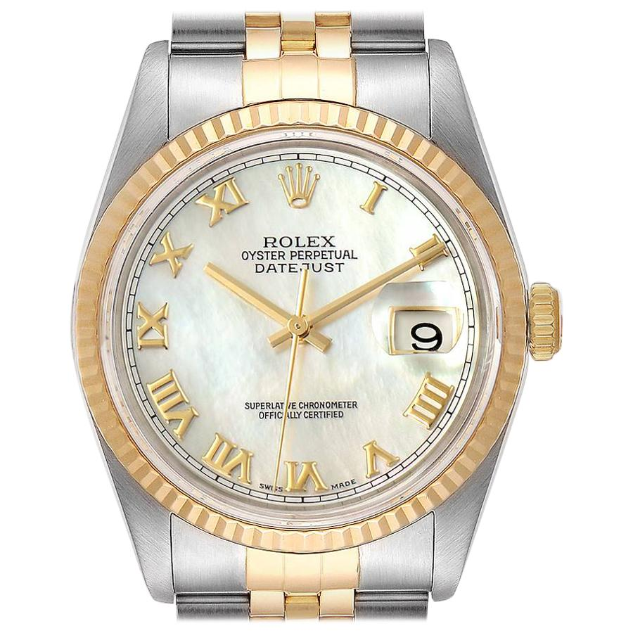 Rolex Datejust Steel Yellow Gold Mother of Pearl Dial Men's Watch 16233