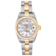 Rolex Datejust Steel Yellow Gold Mother of Pearl Diamond Dial Ladies Watch 79173