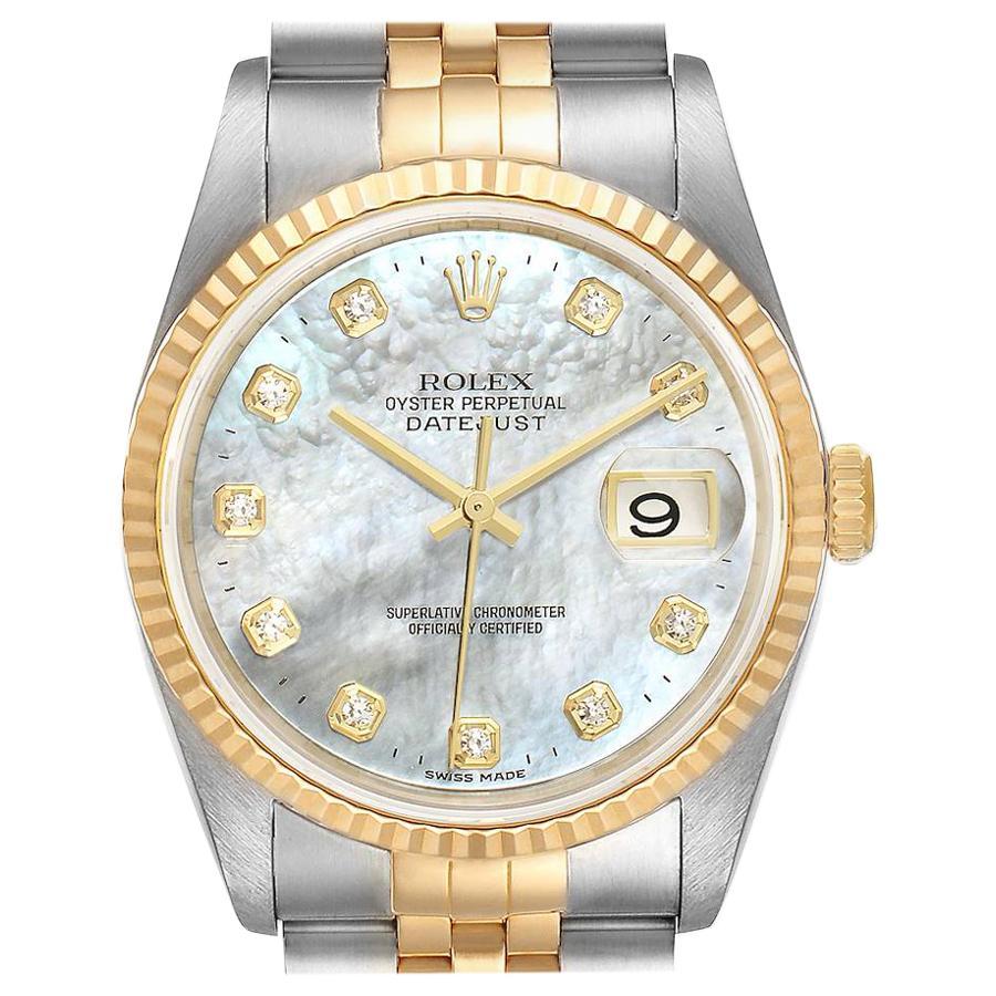 Rolex Datejust Steel Yellow Gold Mother of Pearl Diamond Men's Watch 16233