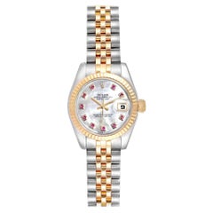 Rolex Datejust Steel Yellow Gold Mother of Pearl Rubies Ladies Watch 179173
