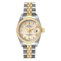 Rolex Datejust Steel Yellow Gold Pyramid Dial Ladies Watch 79173 Papers