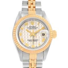 Rolex Datejust Steel Yellow Gold Pyramid Roman Dial Ladies Watch 69173
