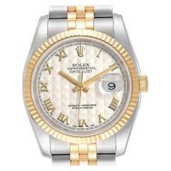 Rolex Datejust Steel Yellow Gold Pyramid Roman Dial Men's Watch 116233
