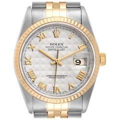 Rolex Datejust Steel Yellow Gold Pyramid Roman Dial Men's Watch 16233