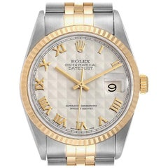 Rolex Datejust Steel Yellow Gold Pyramid Roman Dial Men's Watch 16233
