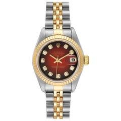 Rolex Datejust Steel Yellow Gold Red Vignette Diamond Ladies Watch 79173