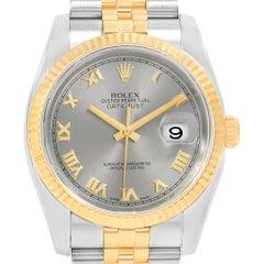 Rolex Datejust Steel Yellow Gold Rhodium Roman Dial Men's Watch 116233