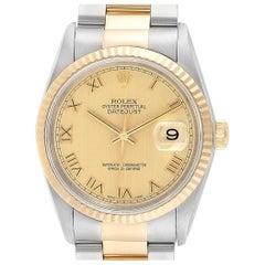 Rolex Datejust Steel Yellow Gold Roman Dial Men's Watch 16233