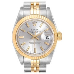 Rolex Datejust Steel Yellow Gold Silver Dial Ladies Watch 69173 Box Papers