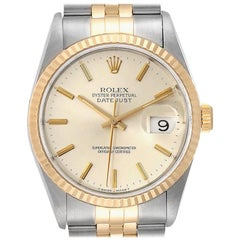 Rolex Datejust Steel Yellow Gold Silver Dial Men's Watch 16233