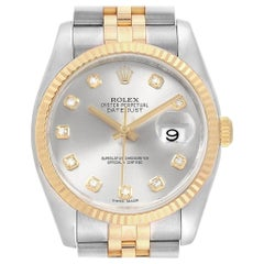 Rolex Datejust Steel Yellow Gold Silver Diamond Dial Men's Watch 116233