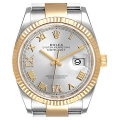 Rolex Datejust Steel Yellow Gold Silver Diamond Dial Mens Watch 126233