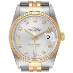 Rolex Datejust Steel Yellow Gold Silver Diamond Dial Men's Watch 16233