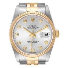 Rolex Datejust Steel Yellow Gold Silver Diamond Dial Mens Watch 16233
