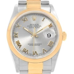 Rolex Datejust Steel Yellow Gold Slate Dial Men's Watch 16203 Box Papers