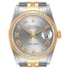 Rolex Datejust Steel Yellow Gold Slate Dial Men's Watch 16233