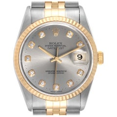 Rolex Datejust Steel Yellow Gold Slate Diamond Dial Men's Watch 16233 Papers