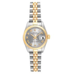 Rolex Datejust Steel Yellow Gold Slate Roman Dial Ladies Watch 79173