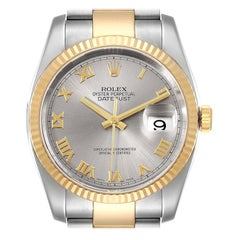 Rolex Datejust Steel Yellow Gold Slate Roman Dial Mens Watch 116233