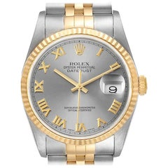 Rolex Datejust Steel Yellow Gold Slate Roman Dial Mens Watch 16233
