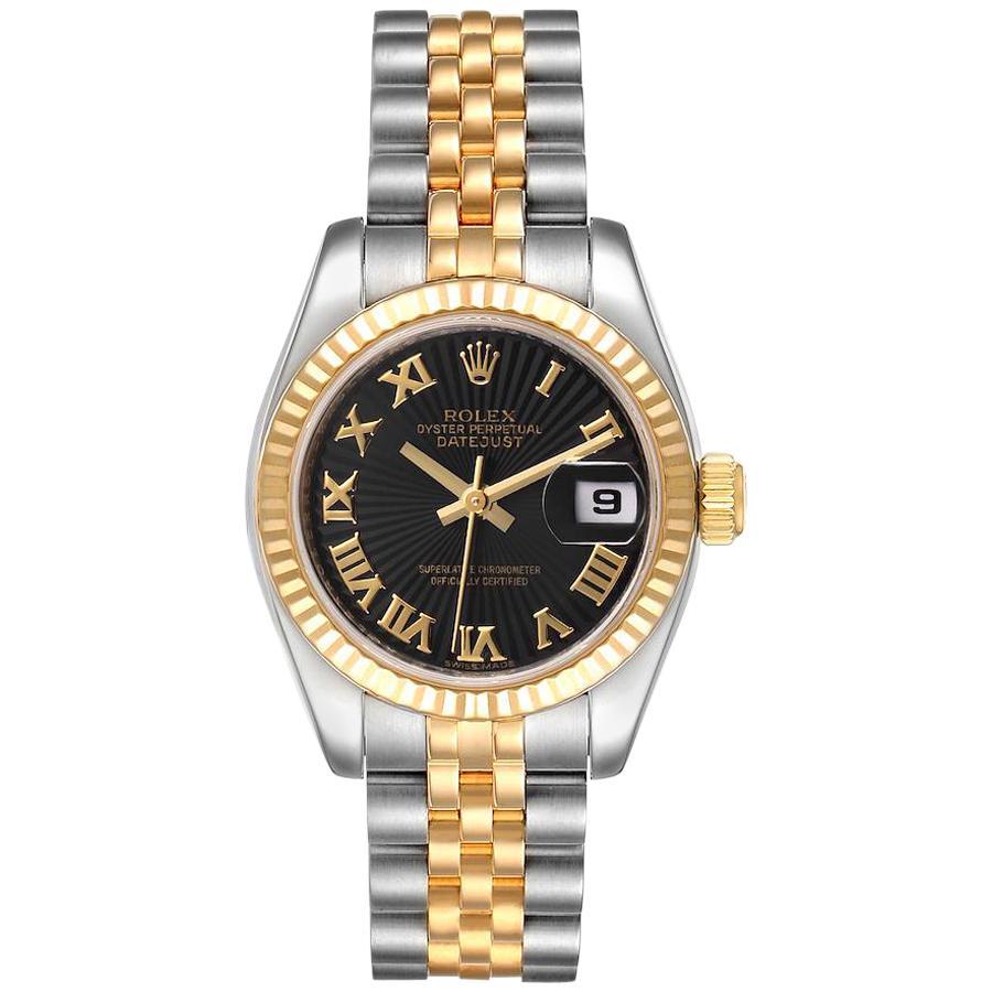Rolex Datejust Steel Yellow Gold Sunbeam Dial Ladies Watch 179173 Box Card