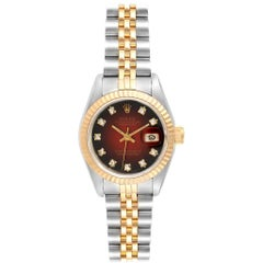 Rolex Datejust Steel Yellow Gold Vignette Diamond Dial Ladies Watch 69173