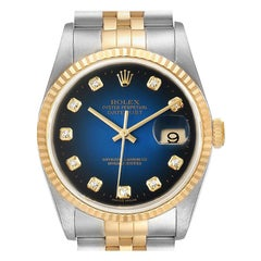 Rolex Datejust Steel Yellow Gold Vignette Diamond Dial Men's Watch 16233