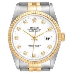 Rolex Datejust Steel Yellow Gold White Dial Diamond Men's Watch 16233