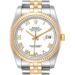 Rolex Datejust Steel Yellow Gold White Dial Men's Watch 116233 Box Card
