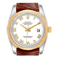 Rolex Datejust Steel Yellow Gold White Dial Mens Watch 116233