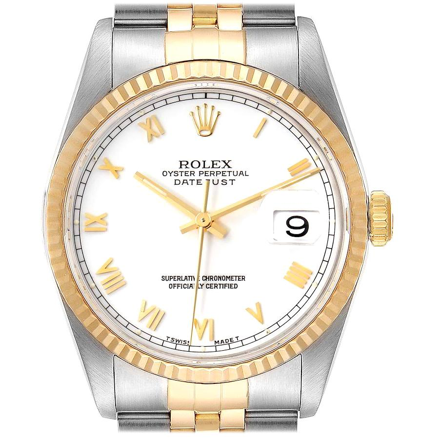 Rolex Datejust Steel Yellow Gold White Dial Men's Watch 16233