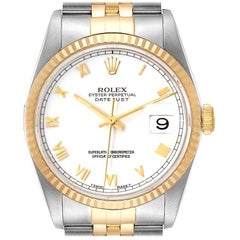 Rolex Datejust Steel Yellow Gold White Dial Men's Watch 16233