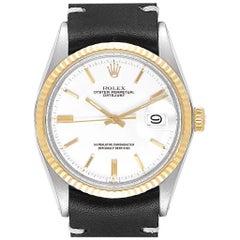 Rolex Datejust Steel Yellow Gold White Dial Vintage Men's Watch 1601
