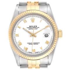 Rolex Datejust Steel Yellow Gold White Dial Vintage Men's Watch 16013