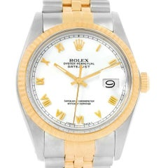 Rolex Datejust Steel Yellow Gold White Dial Vintage Men's Watch 16013