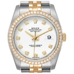 Rolex Datejust Steel Yellow Gold White Diamond Dial Men's Watch 116243