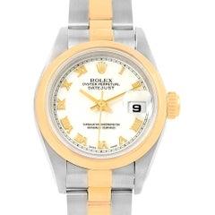 Rolex Datejust Steel Yellow Gold White Roman Dial Ladies Watch 69163