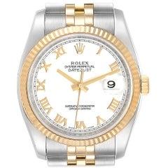 Rolex Datejust Steel Yellow Gold White Roman Dial Men's Watch 116233