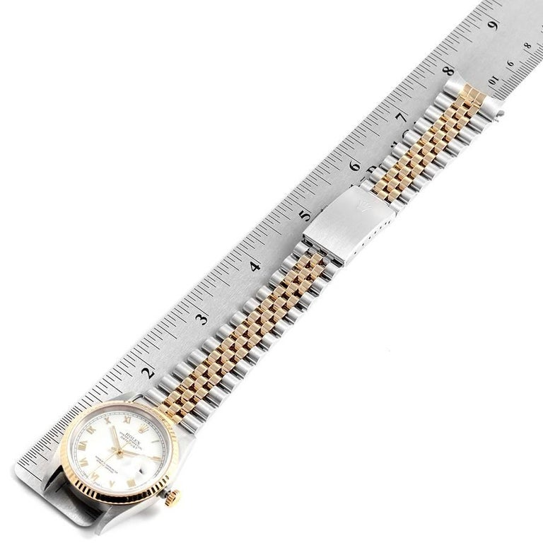 Rolex Datejust Steel Yellow Gold White Roman Dial Men's Watch 16233 7