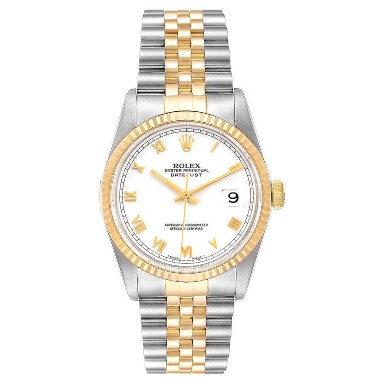 Rolex Datejust Steel Yellow Gold White Roman Dial Mens Watch 16233. Officially certified chronometer self-winding movement. Stainless steel case 36 mm in diameter. Rolex logo on a 18K yellow gold crown. 18k yellow gold fluted bezel. Scratch