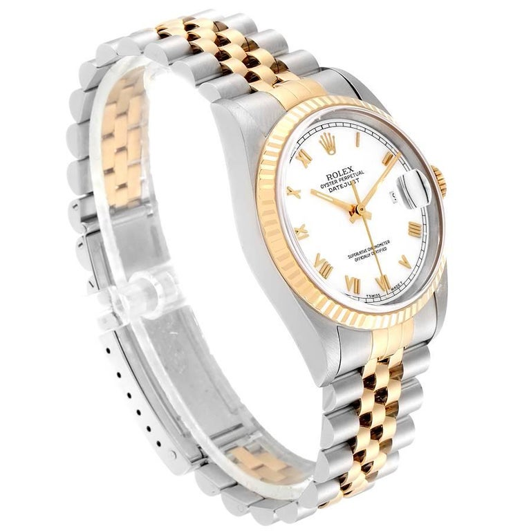 Rolex Datejust Steel Yellow Gold White Roman Dial Men's Watch 16233 In Excellent Condition In Atlanta, GA