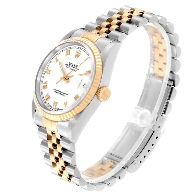 Rolex Datejust Steel Yellow Gold White Roman Dial Men's Watch 16233 1