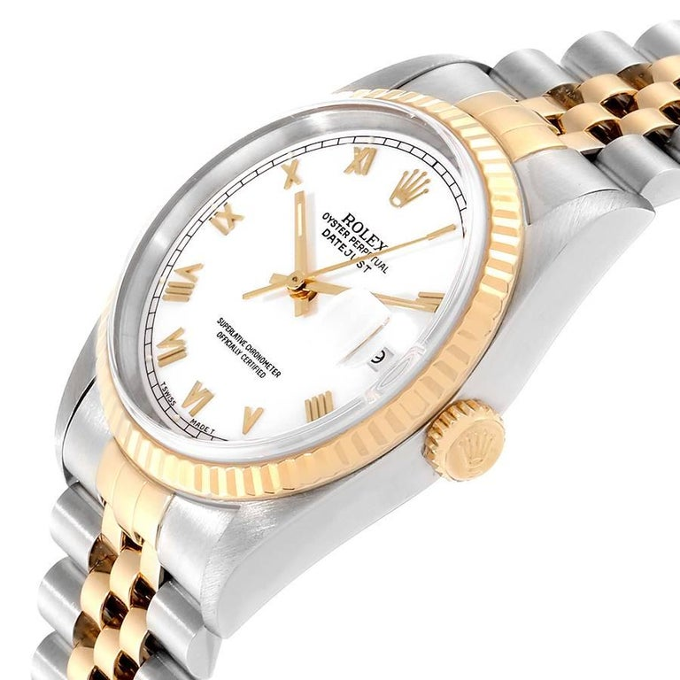 Rolex Datejust Steel Yellow Gold White Roman Dial Men's Watch 16233 2