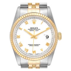 Rolex Datejust Steel Yellow Gold White Roman Dial Men's Watch 16233