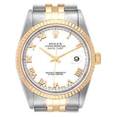 Rolex Datejust Steel Yellow Gold White Roman Dial Men's Watch 16233