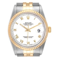 Rolex Datejust Steel Yellow Gold White Roman Dial Men's Watch 16233 Papers