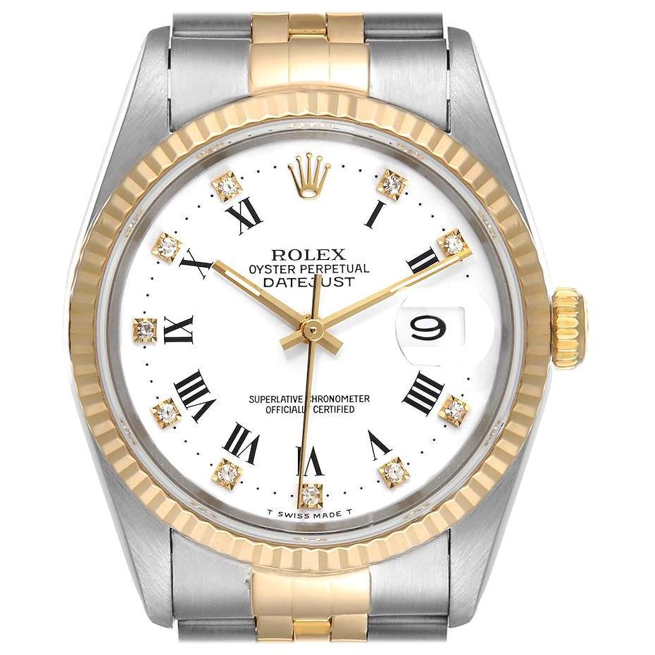 Rolex Datejust Steel Yellow Gold White Roman Diamond Dial Men's Watch 16233
