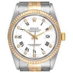 Rolex Datejust Steel Yellow Gold White Roman Diamond Dial Men's Watch 16233