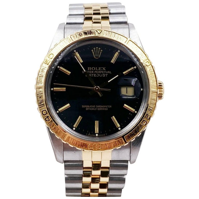Rolex Datejust Thunderbird 16253 18 Karat Yellow Gold Stainless Steel Box Papers For Sale